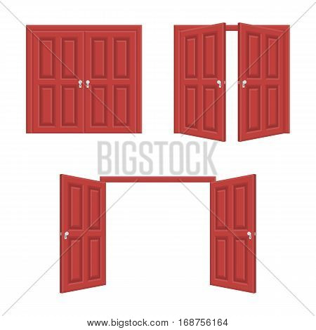 Open and closed brown double wooden door. Realistic vector Illustration of opened and close classic doors isolated on white background. EPS 10.