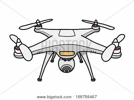 Camera Drone Vector Illustration, a hand drawn vector doodle illustration of a camera drone.