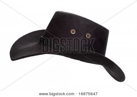 Black leather hat isolated on white. Traditional hat for all american cowboys.