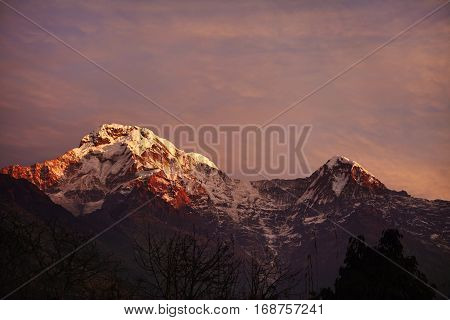 Spectacular Scenic View Of Amazing Morning Winter Sky With Pink, Orange And Blue Tints Over Majestic