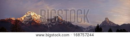 Beautiful Landscape Of The Himalayas Summits Covered With Snow And Ice, Rising Above Wild Nature Of