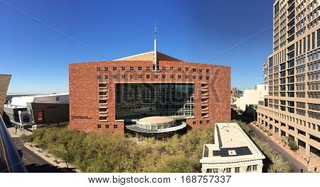 PHOENIX AZ - FEBRUARY 4 2017: Phoenix Municipal Court Valdemar A. Cordova Building on West Washington Street in downtown Arizona