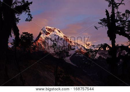 Amazing Red And Blue Evening Sky Over Snowy Peaks And Passes Of The Gigantic Himalayan Mountain Rang