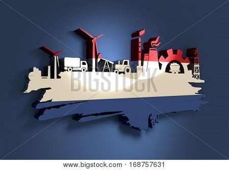 Energy and Power icons set and grunge brush stroke. Energy generation and heavy industry relative image. Agriculture and transportation. Flag of the Netherlands. 3D rendering