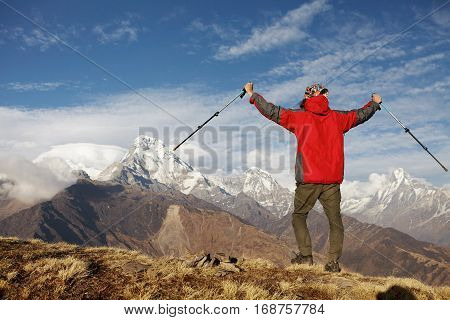 Sports, Success And Achievement Concept. Rear Shot Of Young Hiker In Red Vest Cheering, Happy With T