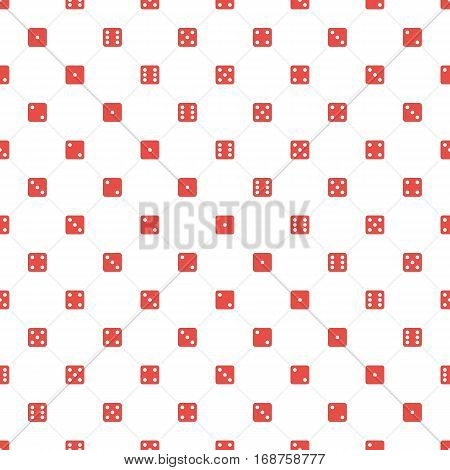 Dice seamless pattern. Gambling dices texture on white background. Vector illustration EPS 10.