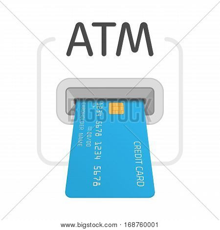 Bank atm machine slot icon. Payment terminal, Shopping symbol. Insert credit card sign. Designed for software and web interface toolbars and menu. Vector illustration EPS 10.