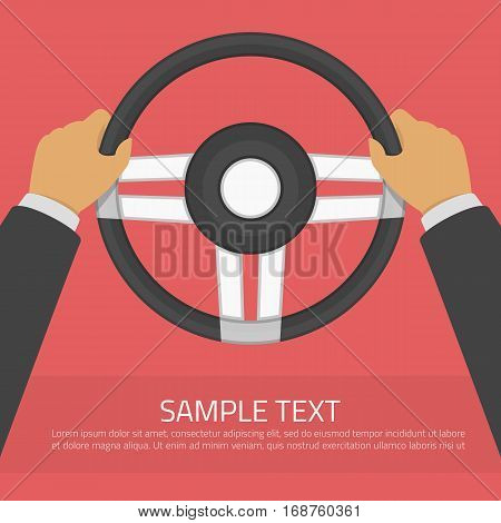 Hands holding steering wheel in modern flat style. Drive a car vector illustration. Auto service, training in driving school, car detail concept. Driver infographic template.