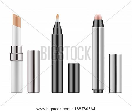 Collection of 3d realistic types corrective concealers: stick, pencil and tube with brush. Mock-up package of cosmetic product for beauty skin. Vector illustration isolated on white background.