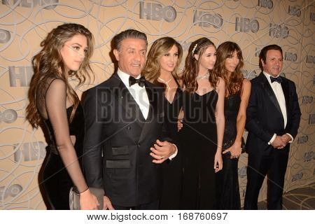 LOS ANGELES - JAN 8:  Sylvester Stallone, daughters, Jennifer Flavin, Frank Stallone at the HBO Golden Globes After-Party at Circa 55 at Beverly Hilton Hotel on January 8, 2017 in Beverly Hills, CA