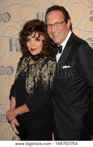 LOS ANGELES - JAN 8:  Joan Collins, Percy Gibson at the HBO Golden Globes After-Party at Circa 55 at Beverly Hilton Hotel on January 8, 2017 in Beverly Hills, CA