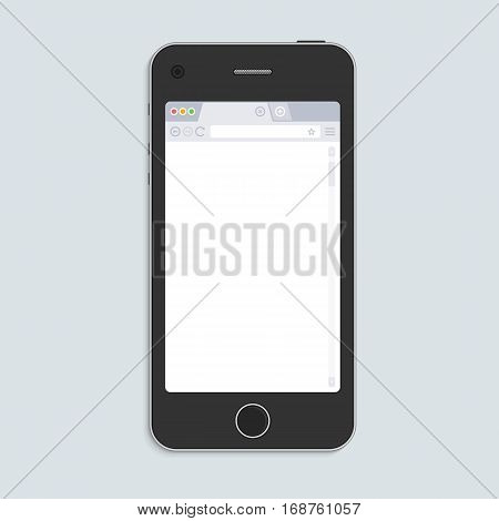 Smart Phone mockup with blank web browser window. Realistic black mobile phone with empty Browser on the screen isolated on light background. Vector illustration EPS 10.