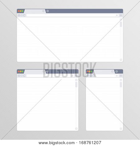 Empty Browser window in flat style vector illustration. Mockup web browser screen different sizes in modern design. Blank Browsers window for devices of computer, tablet, and smart phone. EPS 10.