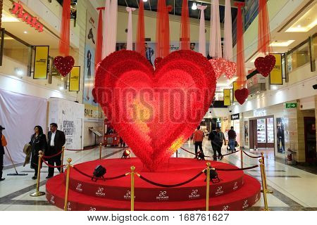 DELHI, INDIA - FEBRUARY 12: Valentine's Day in Select citywalk in Saket Delhi, one of the most popular shopping destinations in Delhi, India on February 12, 2016.