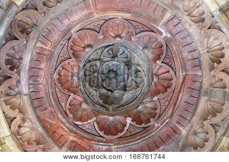 DELHI, INDIA - FEBRUARY 13: Detail of the ceiling in one of the buildings Qutub (Qutb) Minar, Delhi, India on February 13, 2016.