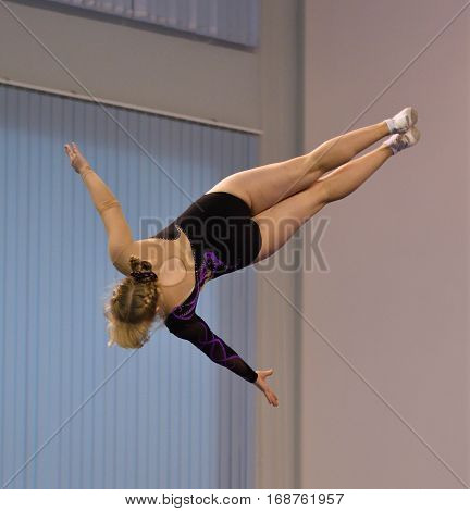 Orenburg, Russia - December 4, 2016: Girls Compete In Jumping On The Trampoline