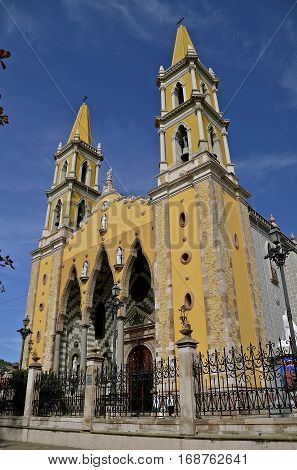 Beautiful downtown Cathedral in Mazatlan, Mexico which was built from 1875 to 1899 and remains as a tourist attraction