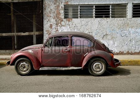 MAZATLAN, MEXICO, January, 27, 2017: The 1960's old car is a product of Volkswagen Group, one of the world's largest car industries in the world founded in Berlin in 1937.