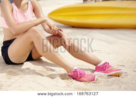 People, Sports And Active Lifestyle Concept. Attractive Young Female Runner Wearing Pink Top, Black