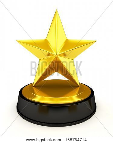Golden star trophy isolated on white - 3d render