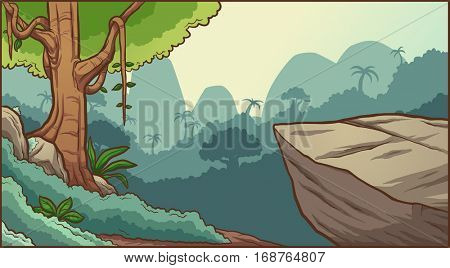 Cartoon jungle background. Vector clip art illustration with simple gradients. Illustration on separate layers.