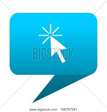 Click here blue bubble icon