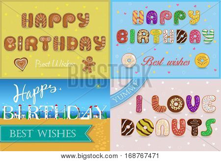 Happy birthday inscription by unusual font. Gingerbread cookies. Colorful donuts. White buildings on the summer beach. Plane in the sky.