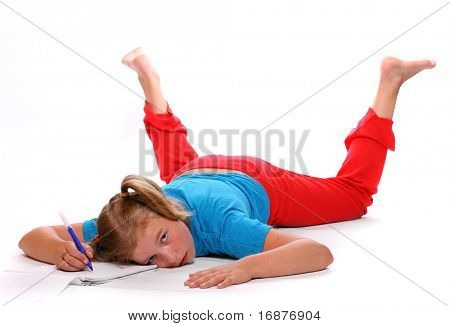 Frustrated student girl after hard studying