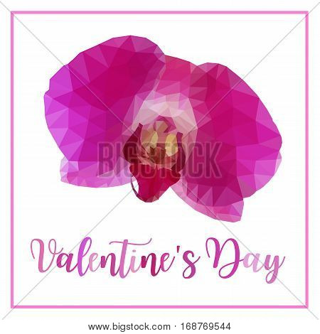 Low poly of pink purple orchid flower isolated on white background with words Valentine's day