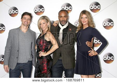 LOS ANGELES - JAN 10:  Matt Cohen, Laura Wright, Donnell Turner, Michelle Stafford at the Disney/ABC TV TCA Winter 2017 Party at Langham Hotel on January 10, 2017 in Pasadena, CA