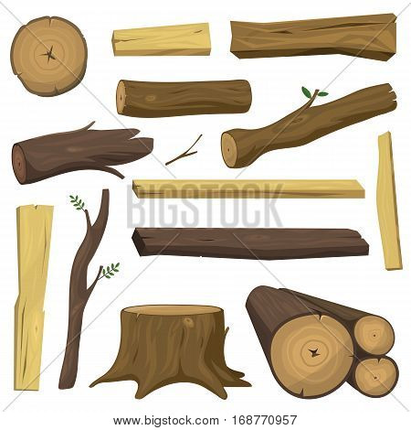Stacked wood pine timber for construction buildings. Cut lumber wood materials logs vector set. Natural forest stack pile wood materials logs rough bark pattern abstract construction.