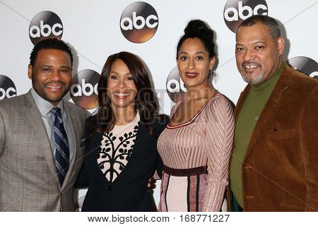 LOS ANGELES - JAN 10:  Anthony Anderson, Channing Dungey, Tracee Ellis Ross, Laurence Fishburne at the Disney/ABC TV TCA Winter 2017 Party at Langham Hotel on January 10, 2017 in Pasadena, CA