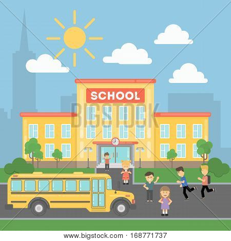School with children and yellow bus. Landscape with school building, grass and clouds. Urban exterior.