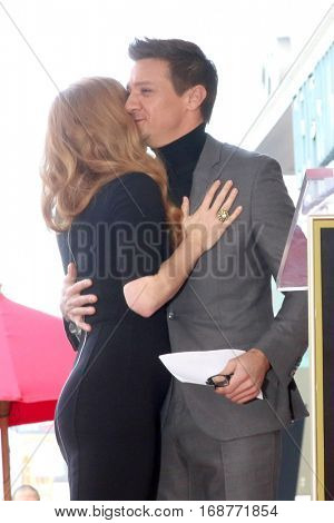 LOS ANGELES - JAN 11:  Amy Adams, Jeremy Renner at the Amy Adams Star Ceremony at Hollywood Walk of Fame on January 11, 2017 in Los Angeles, CA