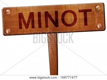 minot road sign, 3D rendering
