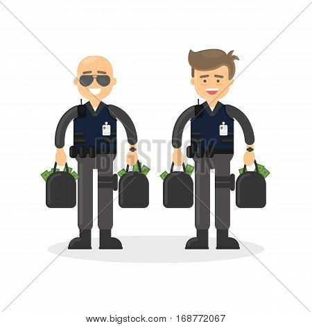 Cash transit guards on white background. Two smiling men in bulletproof vests with money bags.