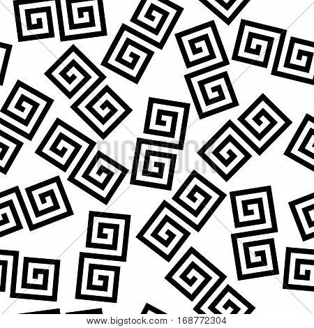 Black and white geometric greek meander spiral chaotic seamless pattern, vector background