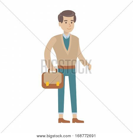Isolated young man on white background. Smiling cute cartoon character in suit with case.