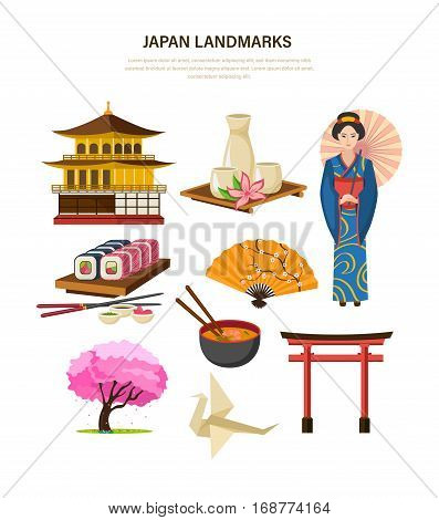 Japan landmarks set: traditional building japan, sake, sakura wood, fan, sushi and rolls, women's clothing, accessory in the form of a fan, the Japanese torii gate, origami. Vector illustration.
