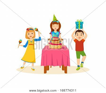 Concept - fun children. Young children are happy, having fun, playing on maracas, girl blowing cake, boy with a gift in the hands. Cartoon vector illustration isolated on white background.