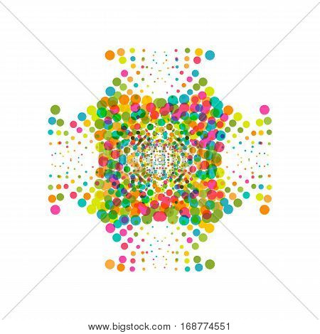 Colorful abstract dotted star. Halftone effect festive surface with colored particles. Multicolor dots on white background. Retro vintage hipster style