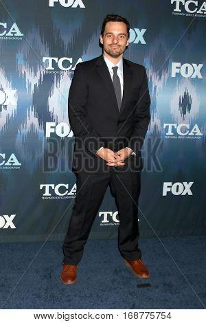 LOS ANGELES - JAN 11:  Jake Johnson at the FOX TV TCA Winter 2017 All-Star Party at Langham Hotel on January 11, 2017 in Pasadena, CA