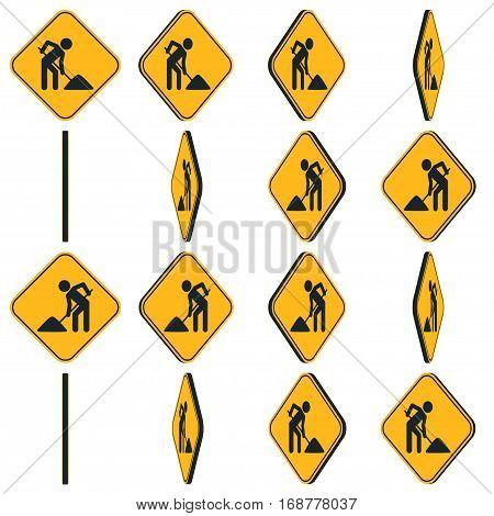 Digging man. Vector illustration of animation rotation road sign