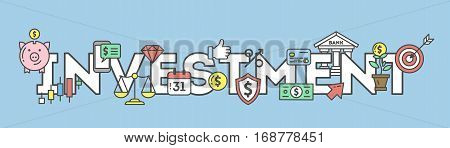 Investment icons set on white background. Colorful creative icons as piggy bank, arrows, gear, money and rocket. All icons in a heap.
