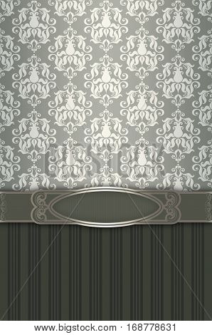 Vintage ornate background with decorative frame and old-fashioned patterns.