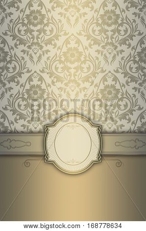 Vintage background with decorative frame and old-fashioned floral patterns.