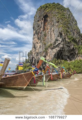 Thailand Krabi province . The islands in the Andaman Sea . Boat locals Long Tail. A fine January day blue sky beautiful clouds .