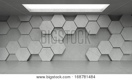 Empty concrete hexagons pattern room interior with light from ceiling. 3D rendering.