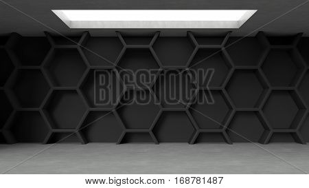 Empty dark concrete hexagons pattern room interior with light from ceiling. 3D rendering.