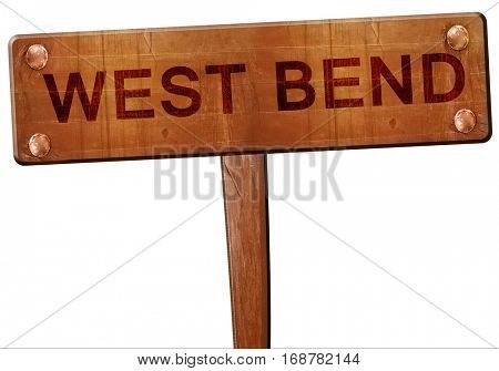 west bend road sign, 3D rendering